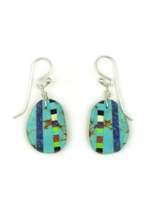 Turquoise Inlay Slab Earrings by Ronald Chavez (ER5209)