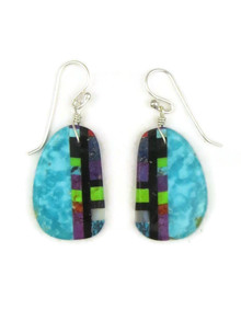 Turquoise Gemstone Inlay Slab Earrings by Ronald Chavez (ER5210)