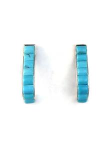 Turquoise Inlay J Hoop Earrings (ER5220)