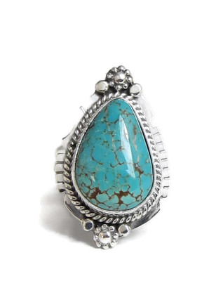 Number 8 Turquoise Ring Size 6 1/2 by Lucy Jake (RG4388)