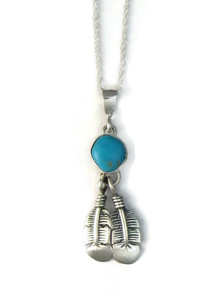 Blue Bird Turquoise Feather Pendant by Lyle Piaso (PD4139)