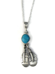 Blue Bird Turquoise Feather Pendant by Lyle Piaso (PD4140)