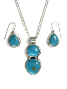 Pilot Mountain Turquoise Pendant & Earring Set by Lyle Piaso (PD4175)