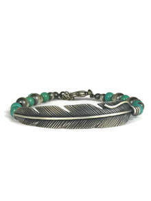Silver Feather Turquoise Bead Bracelet by Raymond Coriz (BR6204)