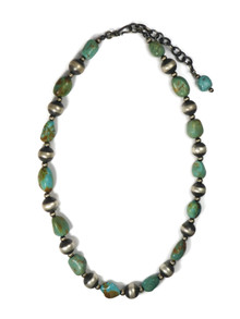 Emerald Valley Turquoise Silver Bead Necklace (NK4577)