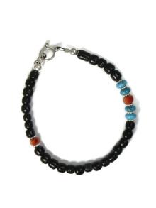 Onyx, Turquoise & Coral Bead Bracelet (BR6231)