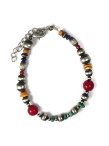 Multi Gemstone Silver Bead Bracelet (BR6235)