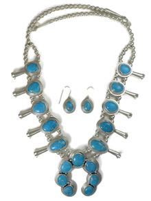 Blue Bird Turquoise Squash Blossom Necklace Set (NK4588)