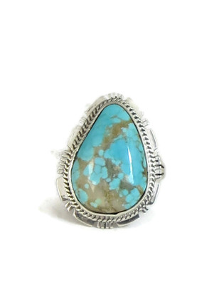 Number 8 Turquoise Ring Size 7 by Kim Yazzie (RG4410)