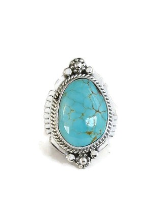 Number 8 Turquoise Ring Size 7 1/2 by Lucy Jake (RG4411)