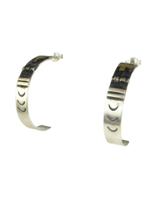12k Gold & Sterling Silver Hoop Earrings by Thomas Singer (ER5263)
