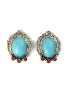 Turquoise & Coral Clip On Earrings (ER5274)