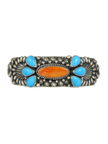 Sleeping Beauty Turquoise & Spiny Oyster Shell Cuff Bracelet by Darryl Becenti (BR6245)