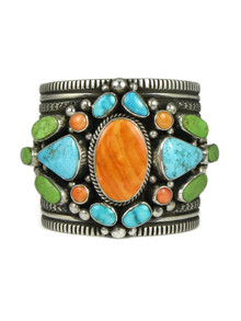 Kingman Turquoise, Spiny Oyster Shell & Gaspeite Cuff Bracelet by Guy Hoskie (BR6247)