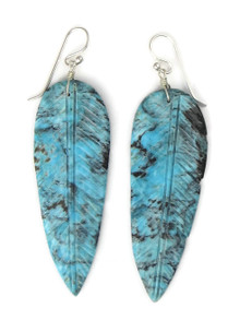 Large Turquoise Feather Slab Earrings by Ronald Chavez (ER5277)