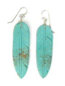 Long Turquoise Feather Slab Earrings by Ronald Chavez (ER5280)