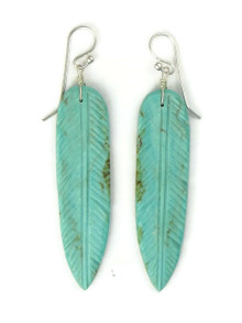 Turquoise Feather Slab Earrings by Ronald Chavez (ER5282)