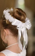 Girls Organza Flower Crown with Pearl cluster center --065-02