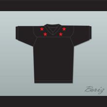Red Stars Black Football Jersey Stitch Sewn New