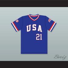 Ken Caminiti 21 1984 USA Team Blue Baseball Jersey