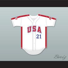 Ken Caminiti 21 1984 USA Team White Button Down Baseball Jersey
