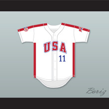 Mike Dunne 11 1984 USA Team White Button Down Baseball Jersey