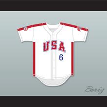 Sid Akins 6 1984 USA Team White Button Down Baseball Jersey