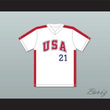 Ken Caminiti 21 1984 USA Team White Baseball Jersey
