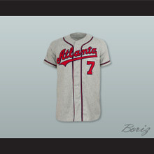 Atlanta Crackers 7 Gray Button Down Throwback Baseball Jersey