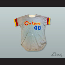 Calgary Cannons 40 Gray Button Down Baseball Jersey
