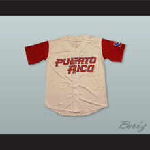 Javier Baez 9 Puerto Rico Light Tan Baseball Jersey