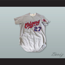 Calgary Cannons 27 Gray Button Down Baseball Jersey