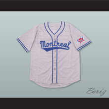 Jackie Robinson 9 Montreal Royals Gray Button Down Baseball Jersey