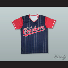 Atlanta Crackers 8 Blue Pinstriped Baseball Jersey