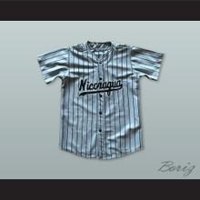 Nicaragua 12 Gray Pinstriped Baseball Jersey