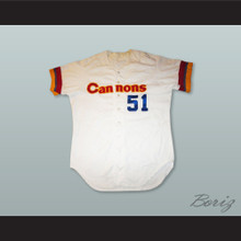 Brown 51 Calgary Cannons White Button Down Baseball Jersey
