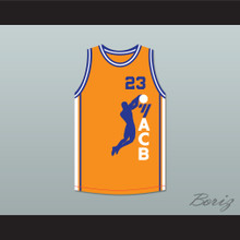 Michael Jordan 23 ACB 1990 Barcelona Exhibition Game Orange Basketball Jersey 1