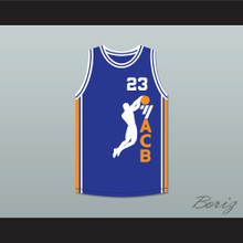 Michael Jordan 23 ACB 1990 Barcelona Exhibition Game Blue Basketball Jersey 2