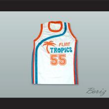 Vakidis 55 Flint Tropics White Basketball Jersey Semi Pro