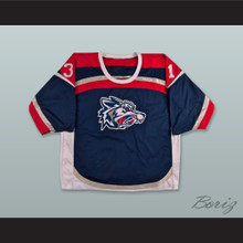 David Lemanowicz 31 Elmira Jackals Navy Blue Hockey Jersey