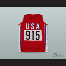 Carl Lewis 915 Team USA Red Track and Field Jersey