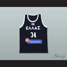 Giannis Antetokounmpo 34 Greece National Team Navy Blue Basketball Jersey