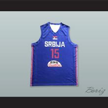 Nikola Jokic 15 Serbia Blue Basketball Jersey