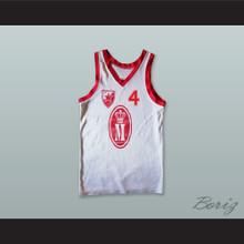 KK Crvena Zvezda 4 Red Star Yugoslavia White Basketball Jersey