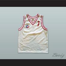 KK Crvena Zvezda 7 Red Star Beograd Serbia White Basketball Jersey