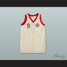 KK Crvena Zvezda 9 Red Star Beograd Serbia White Basketball Jersey