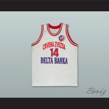 Milenko Topic 14 KK Crvena Zvezda Serbia White Basketball Jersey