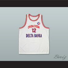 Vlade Divac 12 KK Crvena Zvezda Red Star Beograd Serbia White Basketball Jersey