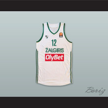 Brock Motum 12 BC Zalgiris Kaunas Lithuania White Basketball Jersey