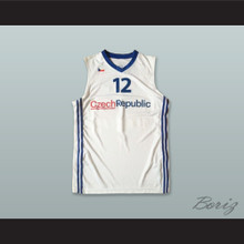 David Jelinek 12 Czech Republic White Basketball Jersey